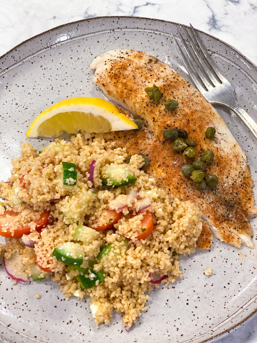 Couscous+Salad+with+cucumber+tomatoes+and+red+onion