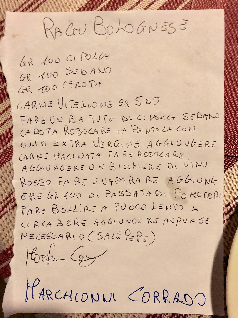 Hand written recipe from our chef in Tuscany / Italian Bolognese Sauce Recipe from Italy