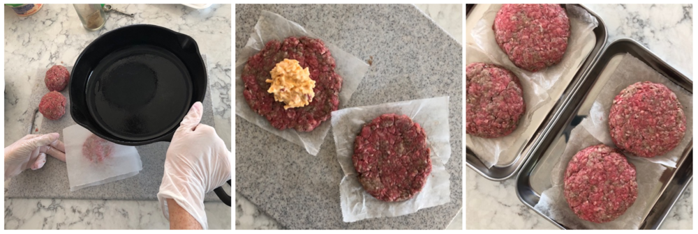 Step 1 - Flatten 8 sides. / Step 2 - place pimento cheese / Step 3 - top with 2nd patty and seal tightly