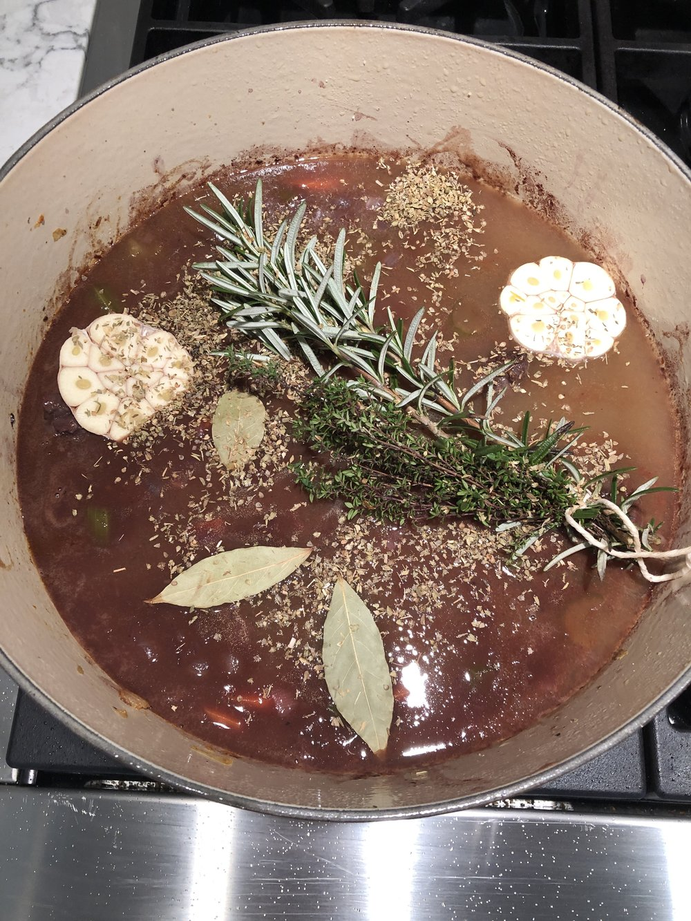 What the pot looks like before it goes in the oven