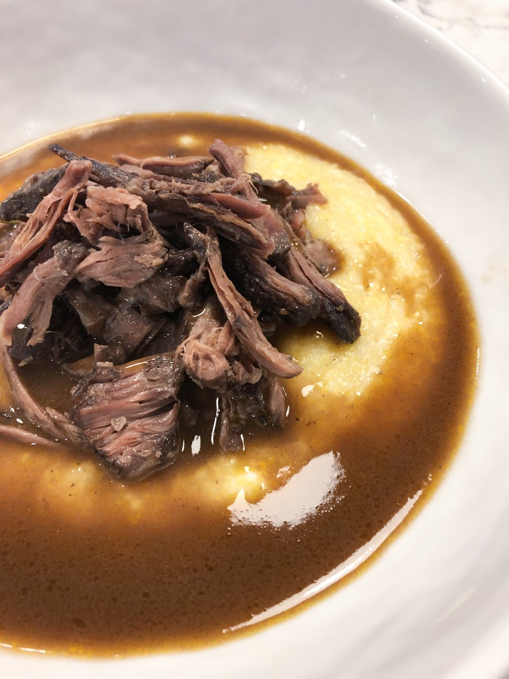 Red Wine Braised Beef Short Ribs with Goat Cheese Polenta