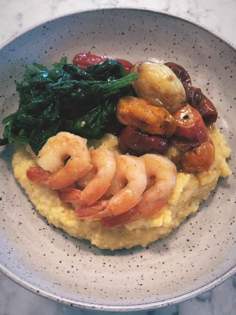 Shrimp+and+Grits+with+Slow+Roasted+Tomatoes+and+Spinach