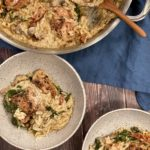 ONE PAN CHICKEN WITH SUN-DRIED TOMATOES, SPINACH AND MUSHROOM ORZO
