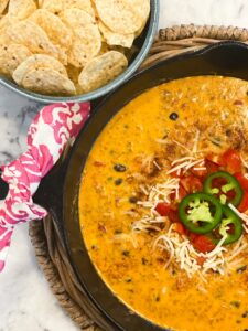 LOADED CHORIZO QUESO in a cast iron skillet