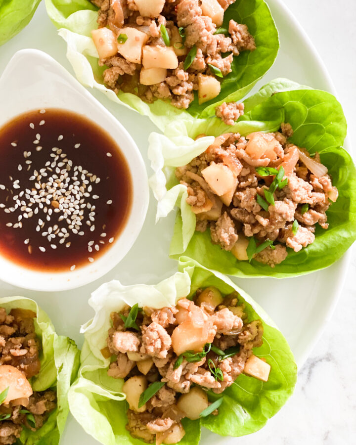 ground chicken, water chestnuts tossed in a soy sauce mixture pilled into lettuce cups.
