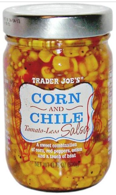 Corn Salsa from Trader Joes in the clear jar.