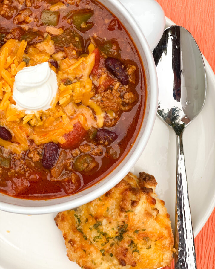 Keto Chili and Keto Garlic Biscuits