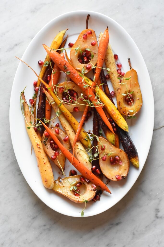 Maple Bourbon Glazed Carrots & Pears Dina and Bruce at The Perks of Being Us