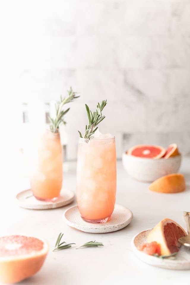 Grapefruit Moscow Mule garnishes with rosemary