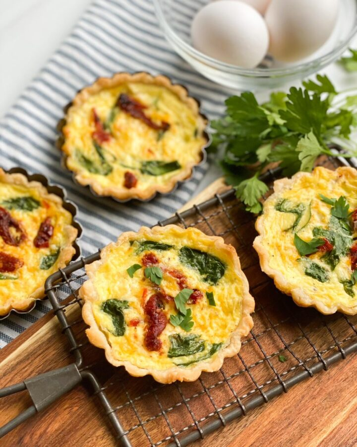 sun dried tomato, feta and spinach Quiche